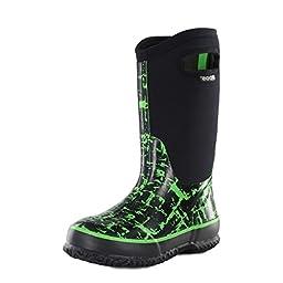 Bogs Classic High Graffiti Waterproof Insulated Rain Boot (Toddler/Little Kid/Big Kid), Black/Green