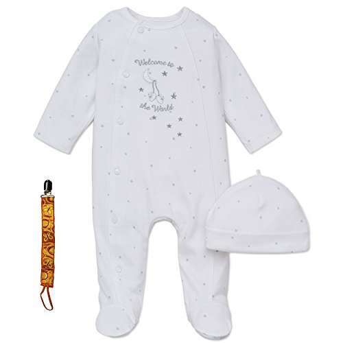 Little Me Unisex Newborn Footie Footed Sleeper Sleep N Play Hat & Tether White