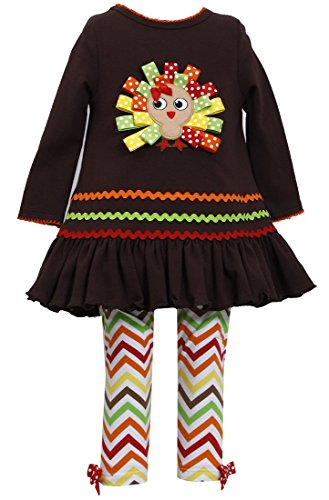 Bonnie Jean Girls Thanksgiving Turkey Dress Outfit , Brown, 4 - 6X