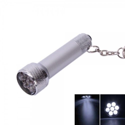 Fast Shipping + Free Tracking Number , Mini Small Keychain Flashlight 7 Led Torch White Light Lamp Bright Bulb Key Chain Ring / Pocket Style