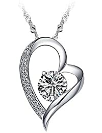 "Tyjewelry 14k Gold Plated Silver Heart Pendant Necklace for Womens (White,purple,red,pink,18"")"