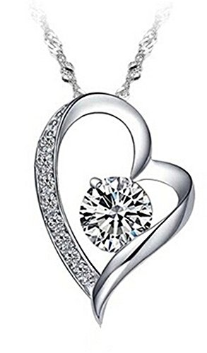 Fashion Women Silver Heart Pendant White Purple Amethyst Zircon Crystal Necklace with Gift Box (White)