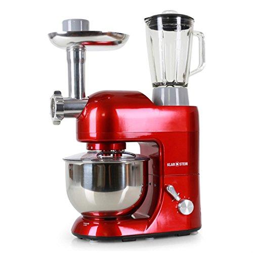 Klarstein Lucia Rossa | Robot de cuisine avec mixeur / blender et hachoir | robot patissier multifonction 1200W avec bol inox de 5L | accessoires pour viande et pâte | 6 vitesses | rouge