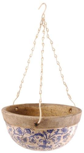 Esschert Design AC03 Ceramic Hanging Basket, Blue/White ...
