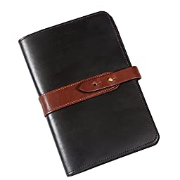 Col. Littleton No. 20 Travel Leather Business Portfolio - Black with Brown Trim