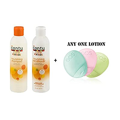 Cantu Care for Kids Tear-free Nourishing Shampoo 8oz & Conditioner 8oz Duo-set (with EOS Hand Lotion)