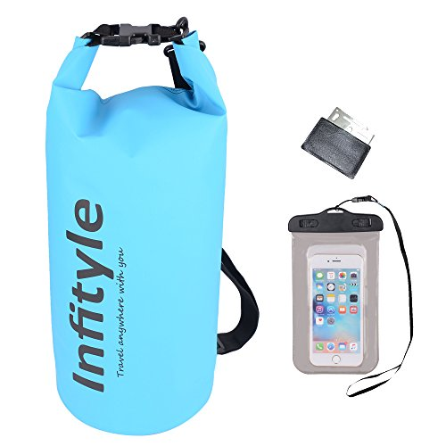 Waterproof Dry Bags - Floating Compression Stuff Sacks Gear Backpacks for Kayaking Camping - Bundled with Free Phone Case and Pocket Tool (Light Blue, 20L)