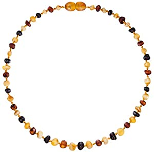 Raw Baltic Amber Teething Necklaces For Babies (Unisex) - Anti Flammatory, Drooling & Teething Pain Reduce Properties - Multi 4 Colors UNPOLISHED Natural Certificated Oval Baltic Jewelry with the Highest Quality Guaranteed. Easy to Fastens with a Twist-in