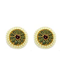 Daamak Copper Stud Earring For Women (Golden)