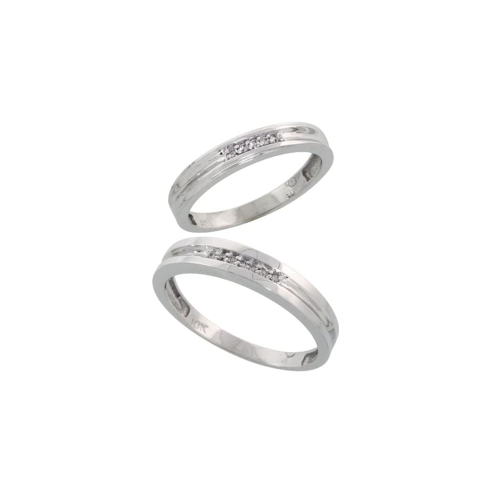 10k White Gold Diamond Wedding Rings Set for him 4 mm and her 3.5 mm 2 Piece 0.07 cttw Brilliant Cut, Ladies Size 5