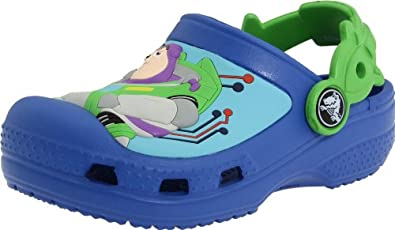 Crocs Woody & Buzz Lightyear Clog (Toddler/Little Kid),Sea Blue/Lime Green,4-5 M US Toddler