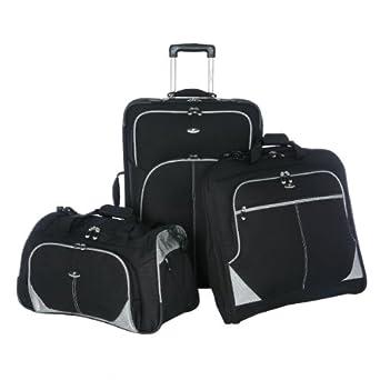 Olympia Luggage Santana 3 Pack Travel Set, Black, One Size