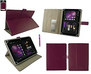 Emartbuy® Purple Stylus + Universal Range Plum Multi Angle Executive Folio Wallet Case Cover With Card Slots Suitable for Tonbux GT101 10.1 Inch Tablet