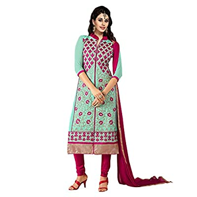 EthnicCrush Women's Georgette Unstitched Embroidered Salwar Kameez(EC3381PRK5606,Blue)