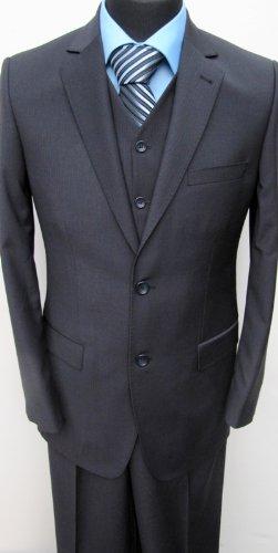 MUGA 2-Button Strip Suit + Waistcoat, Marine/Darkblue, size 36S (EU 24)