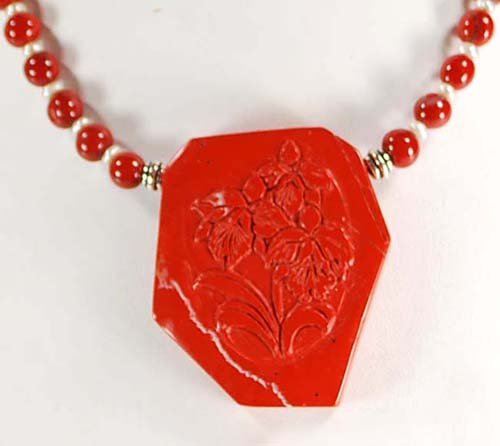 Natural Red Agate Carved Flower Pendant Sterling Silver Necklace N12_0422_16