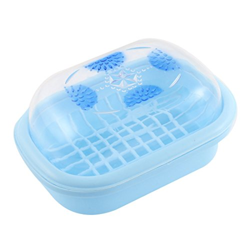 Plastic clear cover bathroom soap box holder case container blue home garden accessories dishes for Clear bathroom containers