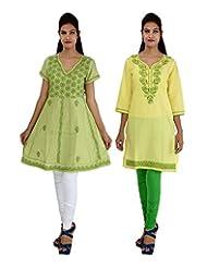 Anpassa Women's Poly Cotton Olive Green And Yellow Kurti Combo Set