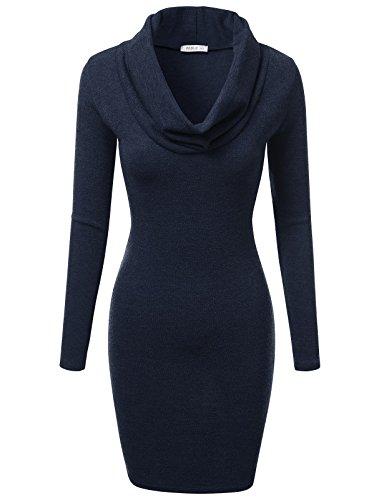 [J.TOMSON Women's Basic Slim Fit Cowl Neck Long Sleeve Knit Dress NAVY S] (Lana Kane Halloween Costume)