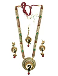 Antique With Blue Enamel And White, Red, Green Stone Necklace Set