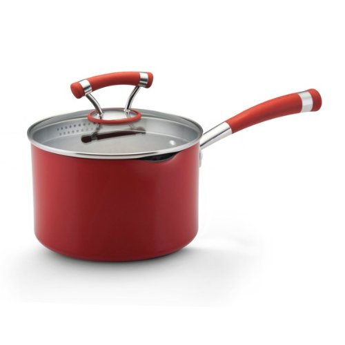 Circulon Contempo Red Dishwasher Safe Nonstick 3-Quart Covered Straining Saucepan