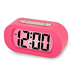 Plumeet Easy Setting LCD Travel Alarm Clock with Silicone Protective Cover,Large Digital Number Display,Snooze Good Backlight Function 3* AAA Batteries Powered Needed (Pink)