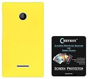 Chevron Rubberized Matte Finish Back Cover Case for Microsoft Lumia 435 with HD Screen Guard (Yellow)