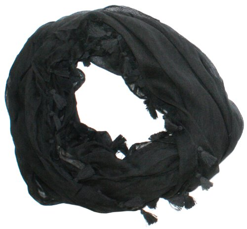 Libbysue-100% Cotton Linen Infinity Scarf With Tassels Black