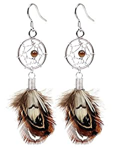 Hand made Silver Dream catcher earring by BodyTrend - with genuine turquoise stones and real Moon Light Feathers. Beautifully designed and hand finished to a very high jewelry standard. Packed in a lovely velvet pouchette