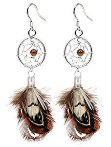 Hand made Silver Dream catcher earring by BodyTrend - with genuine turquoise stones and real Moon Light Feathers. Beautifully designed and hand finished to a very high jewelry standard.