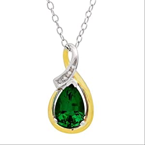 Sterling Silver and 10K Gold Created Emerald and Diamond Pendant (1 3/4ct tw)