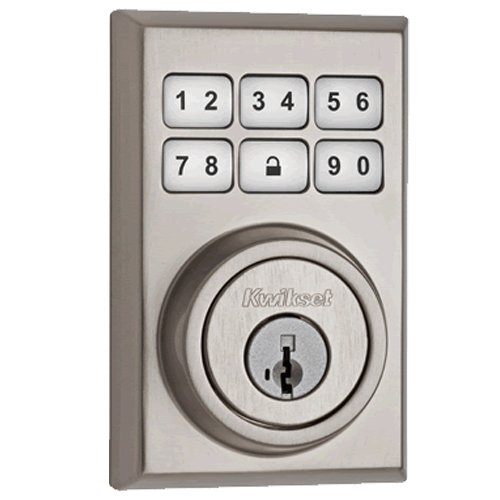 Kwikset 910 Z-Wave Contemporary Smartcode Electronic Deadbolt Featuring Smartkey In Satin Nickel