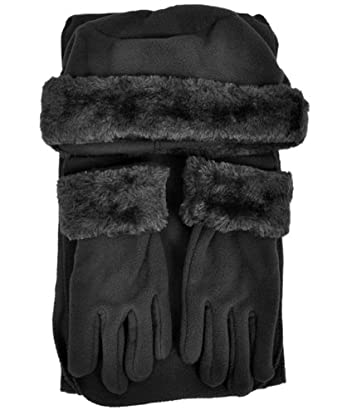 Cloche Fur Trim 3 Piece Fleece Hat, Scarf & Glove Women's Winter Set (Black)