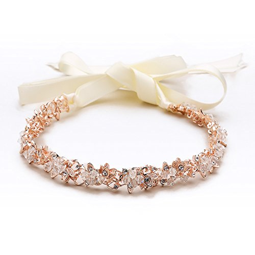 Mariell Rose Gold Crystal Cluster Bridal Wedding Headband Hair Vine - Ivory Ribbons