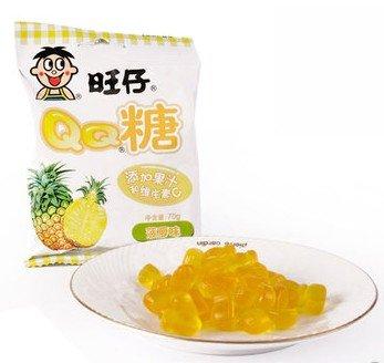 Dd2 Chinese Special Snack Food: Wangzai Qq Sugar 70G (Grape, Orange, Pineapple, Blueberries, Strawberries, Lychee, Apple, Peach) (Pineapple)
