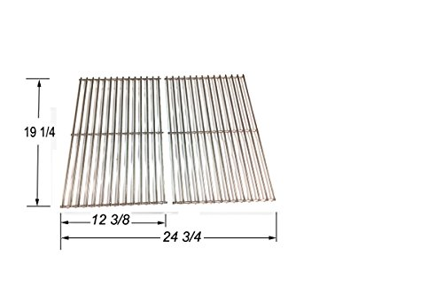 Universal Stainless Steel Cooking Grid for Weber, Aussie, Grillware, Charmglow, Kenmore Gas Grill Models, Set of 2