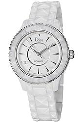 Christian Dior VIII Automatic White Dial White Ceramic Ladies Watch CD1245E3C001