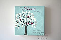 MuralMax - Custom Unique Family Tree - Stretched Canvas Wall Art - Wedding & Memorable Anniversary Gifts - Unique Wall Decor - Color - Soft Blue - 30-DAY - Size 20 x 20