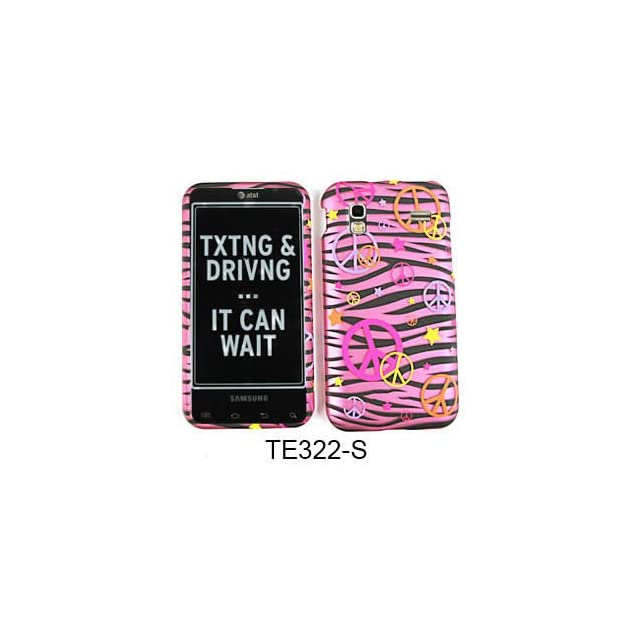 CELL PHONE CASE COVER FOR SAMSUNG CAPTIVATE GLIDE I927 TRANS PEACE SIGNS ON PINK ZEBRA