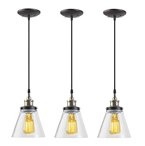 Globe Electric 1-Light Vintage Edison Hanging Pendant, Antique Brass & Bronze Finish (3-Pack), Black Cord, Glass Shade, 3x 60W Bulbs (sold separately), 65207 (Bar Lights compare prices)