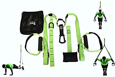 Suspension Fitness Bands - Green - Full Body Home Gym Trainer - Force of Gravity Shreds Your Core For Strength Endurance - NO RISK Satisfaction
