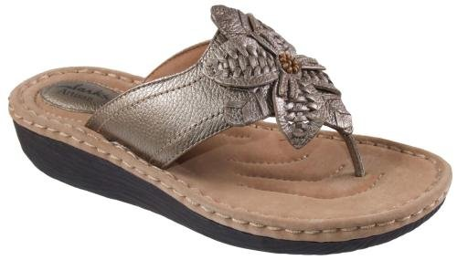 Clarks Women's Latin Palm Thong Sandal,Platinum Leather,7 M US