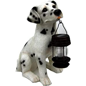 Dalmatian Dog Garden Solar Lantern Statue