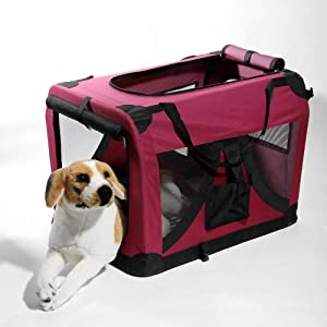 ATC Wine Red / Maroon Pet Cat Dog Portable Soft Side Crate/Carrier House Cage Kennel for Travel, Indoor and Outdoor XL-32 x 23 x 23 Inches 40 lbs