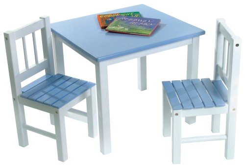 Lipper International 513BL Child's Table and 2-Chair Set, Blue and White - 1