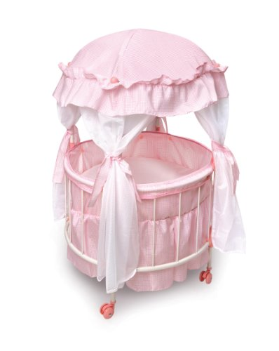 Badger Basket Royal Pavilion Round Doll Crib with Canopy and Bedding (fits American Girl dolls) - 1