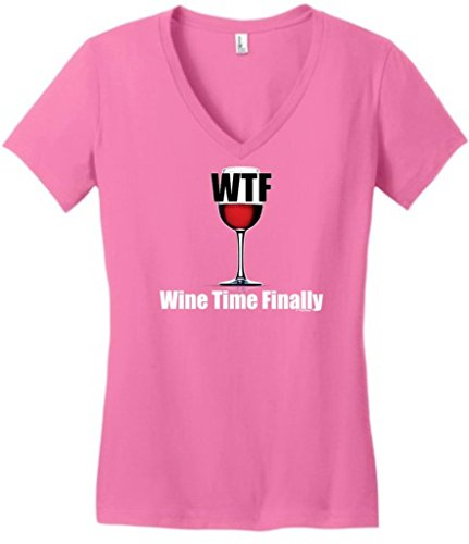 WTF Wine Time Finally Juniors V-Neck Large True Pink