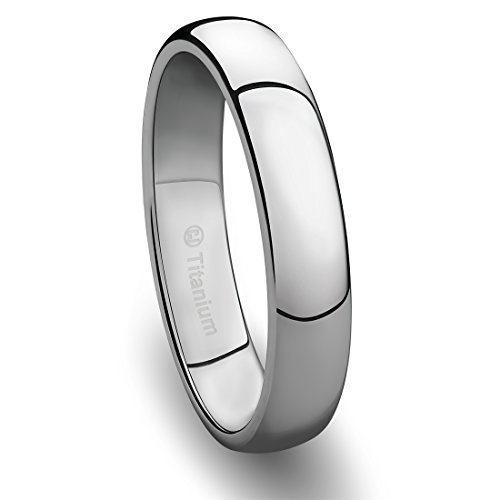 4MM Mens Titanium Ring Classic Wedding Band with Polished Finish [Size 9.5]