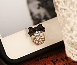Big Mango Cute Black Bow Round Iphone Home Return Key Button Sticker / Cell Phone Charms for Apple Iphone 5 5s 5c Iphone 4 4s Ipod Touch Ipad 2 iPad 3 iPad 4 iPad Air Tablet Replace Replacement