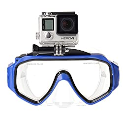 Diving Glasses Masks for Gopro Hero Hd, Hero 4 Silver Black, Hero 3+, Hero 3, Hero 2, Hero 1, Includes Flo